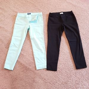 x2 Pairs Teal Black Old Navy Pixie Pants 4 Regular